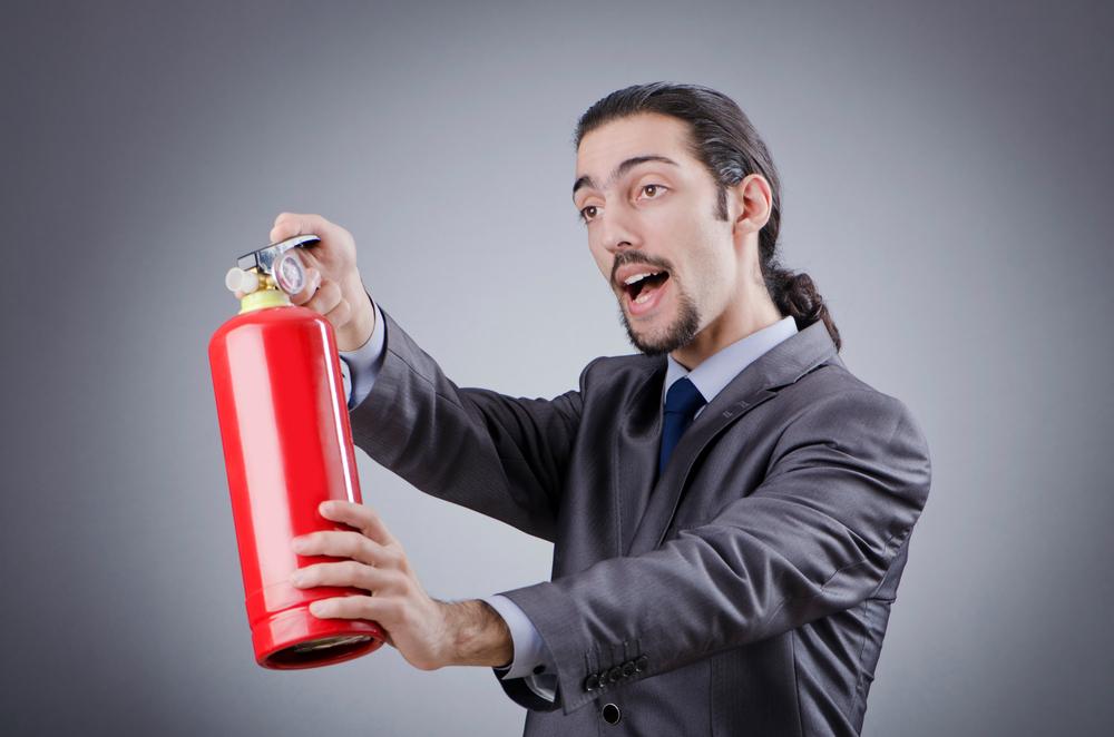 Feuerlöscher im Betrieb