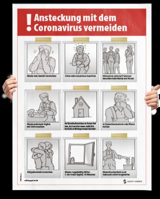 """Poster: """"Ansteckung mit dem Coronavirus vermeiden"""""""